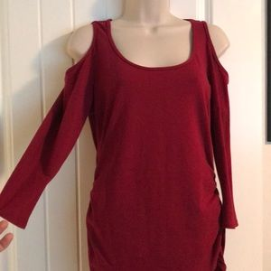 NWOT Boston Proper cold shoulder ruched top. Sexy!